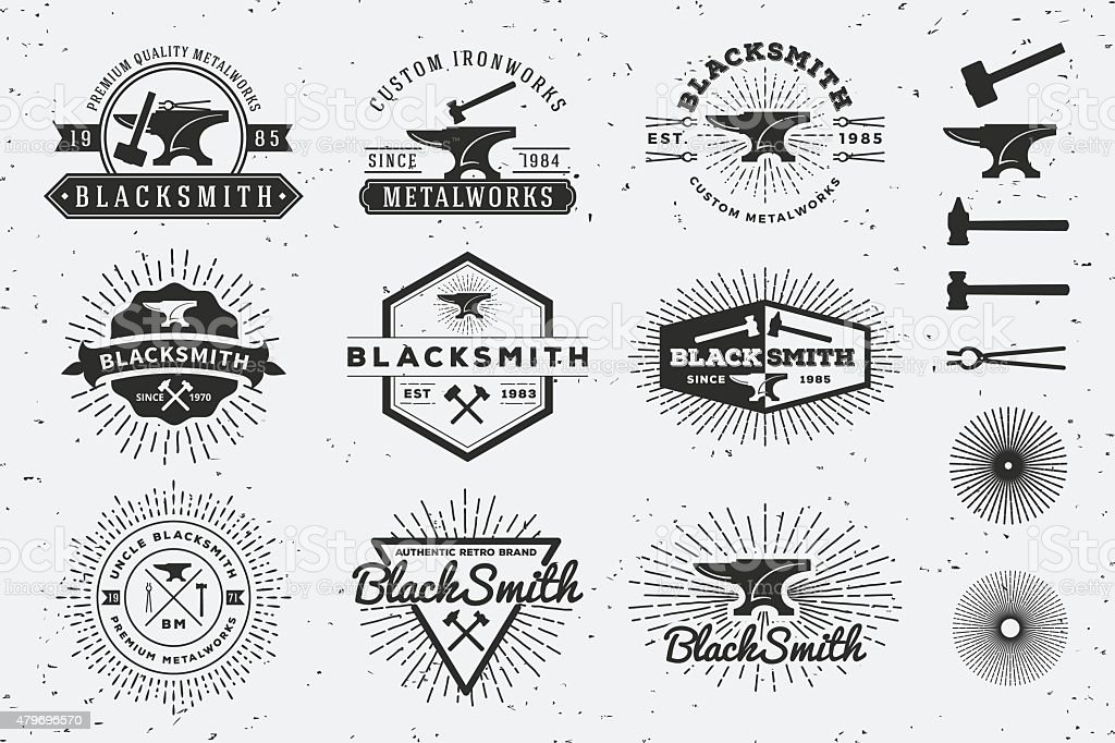 Modern Vintage Blacksmith and Metalworks Badge Logo vector art illustration