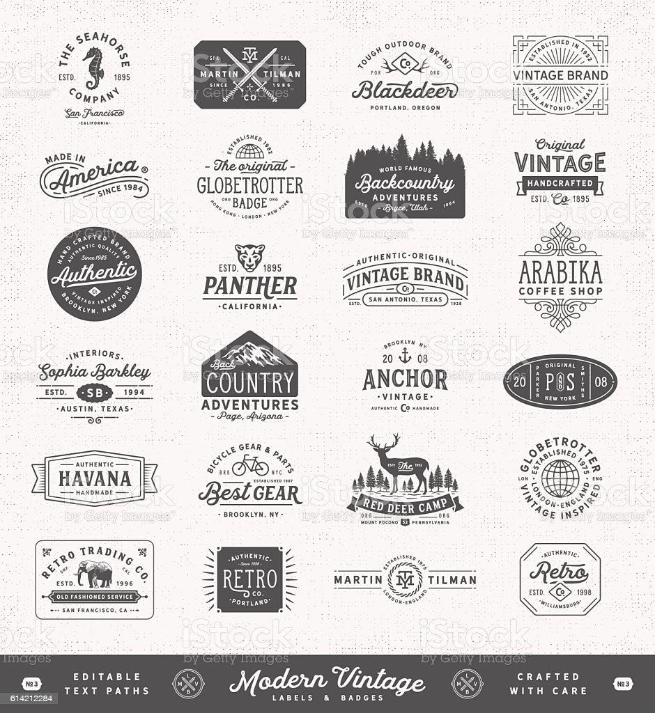 Modern Vintage Labels,Badges and Signs vector art illustration