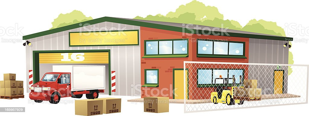 Modern warehouse building, truck and forklift vector art illustration