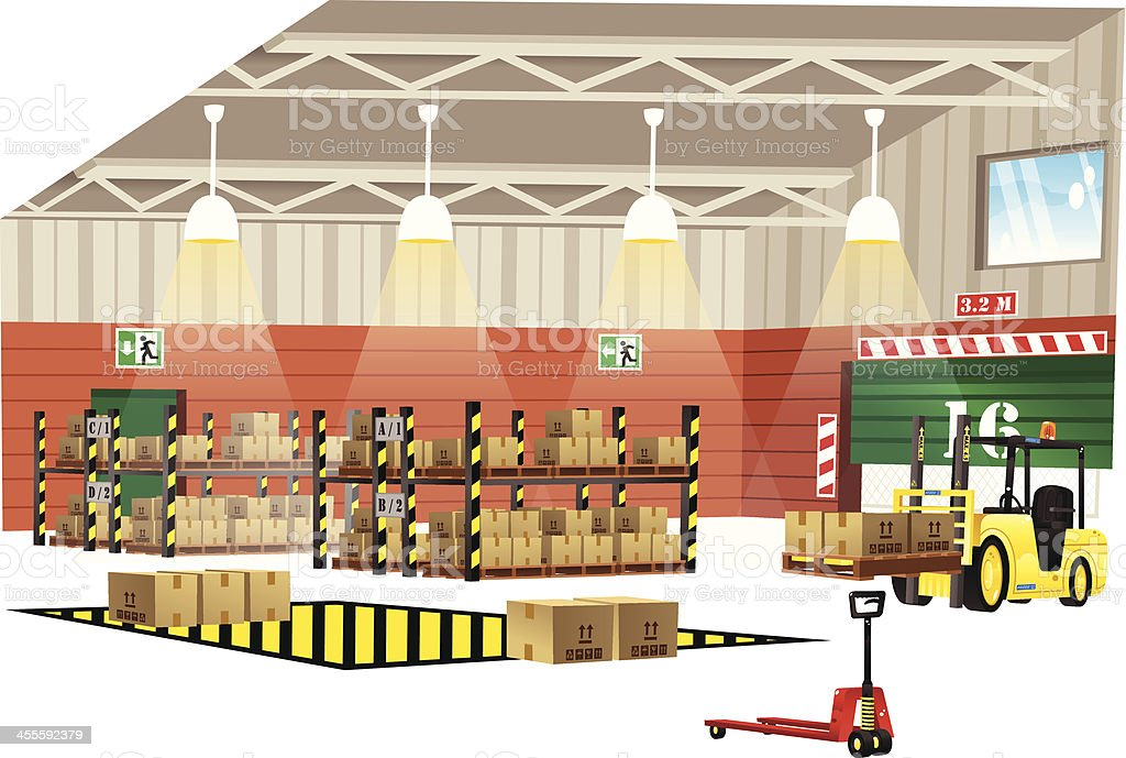 Modern warehouse interior view royalty-free stock vector art