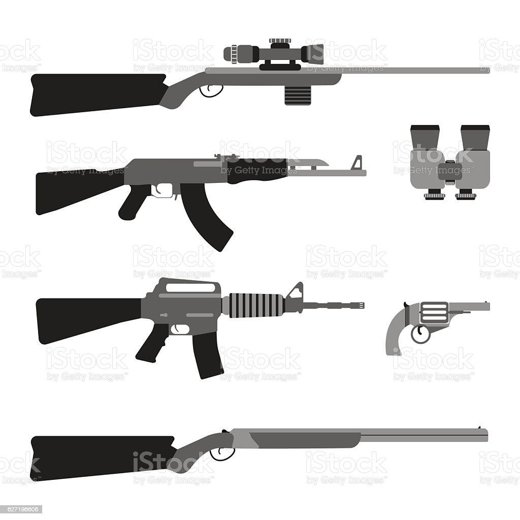 Modern Weapons set. Flat style equipment. vector art illustration