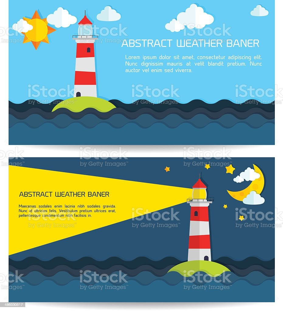Modern weather background with lighthouse, sun, moon and clouds royalty-free stock vector art