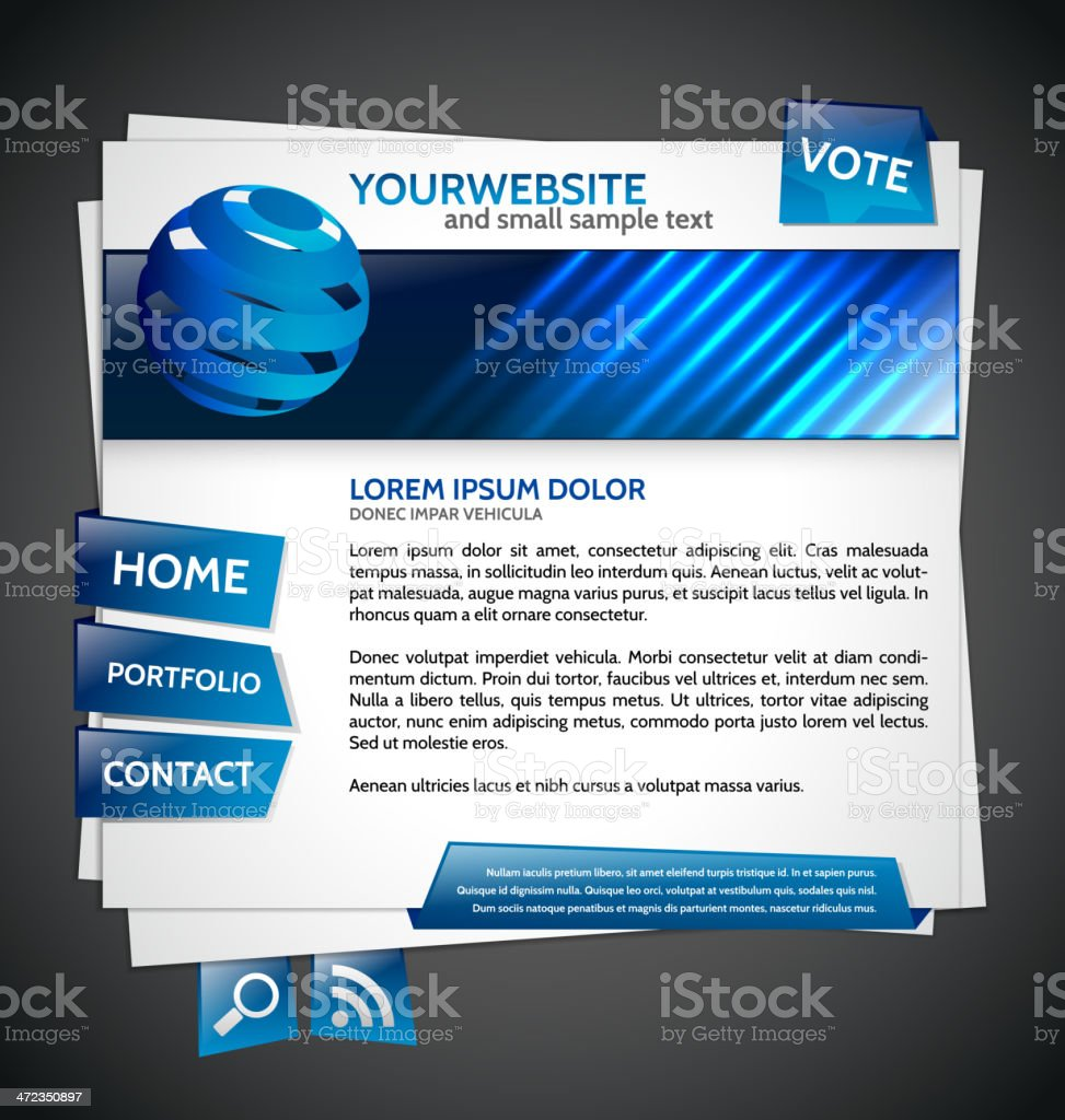 Modern Website Template with globe royalty-free stock vector art