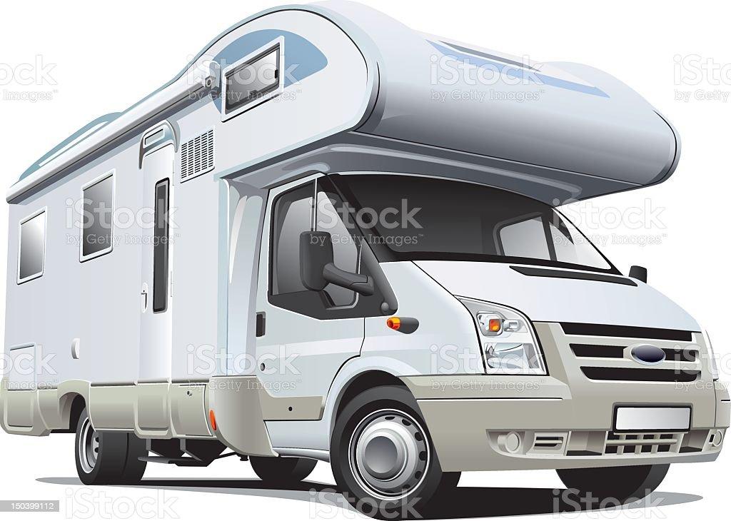 Modern white camper on white backdrop vector art illustration