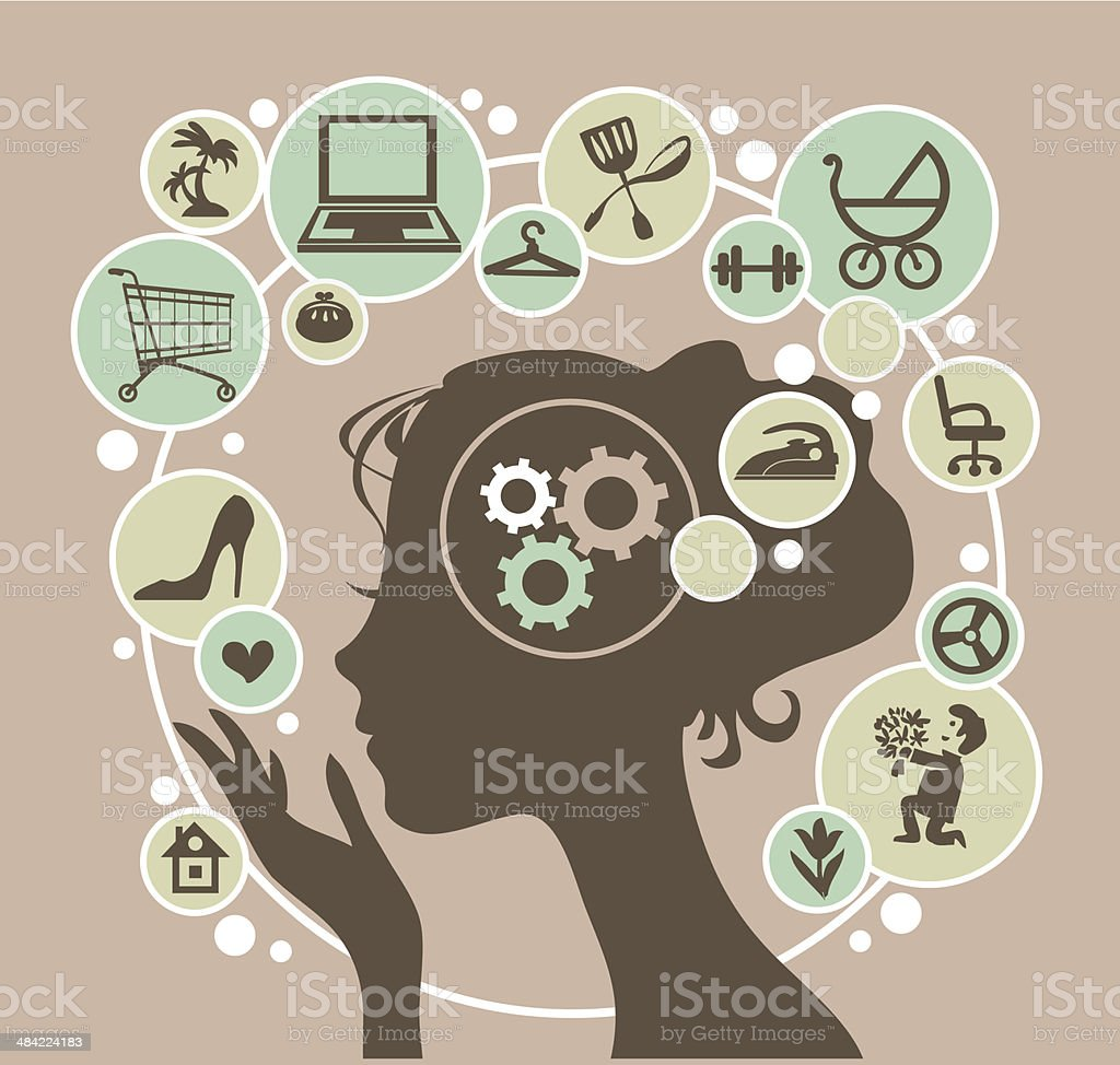 modern woman vector art illustration