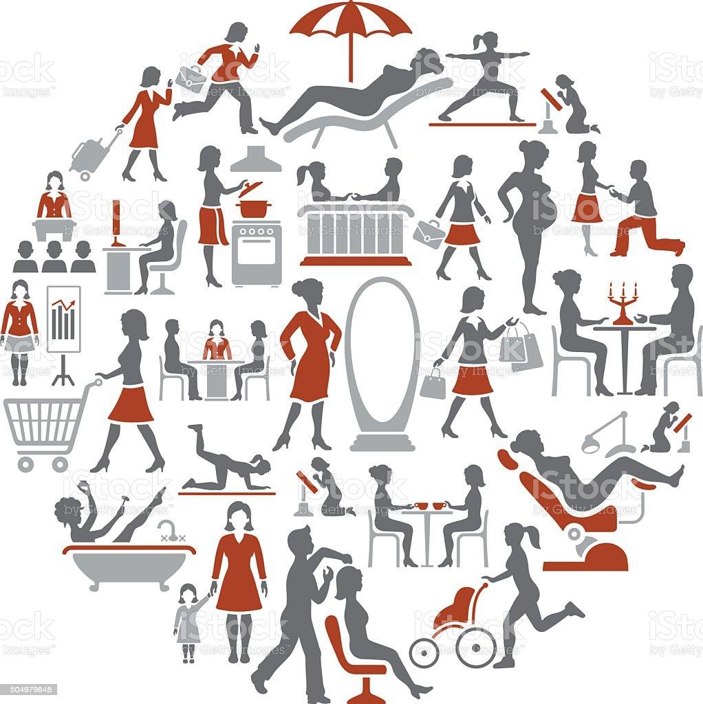 Modern women's life collage vector art illustration