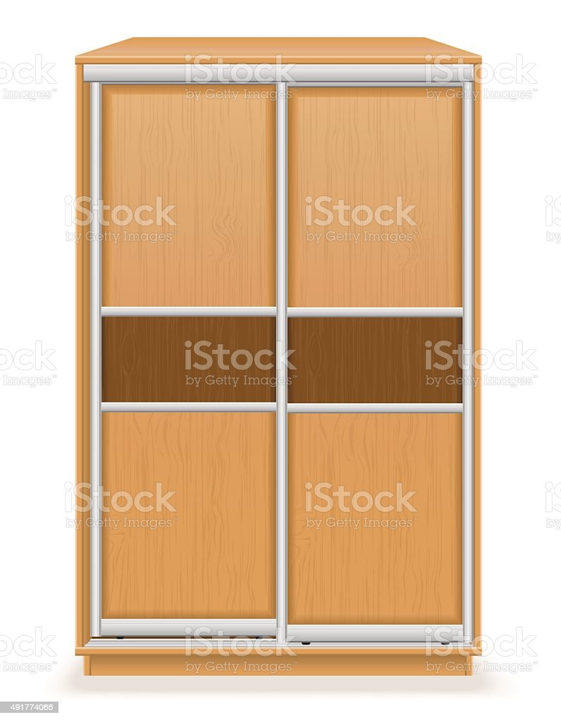modern wooden furniture wardrobe with sliding doors vector illus vector art illustration