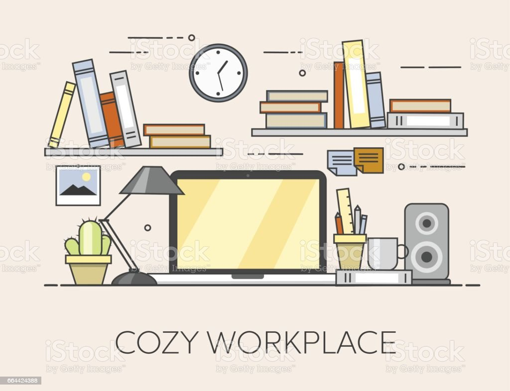 modern workplace in office cozy home office interior stock vector