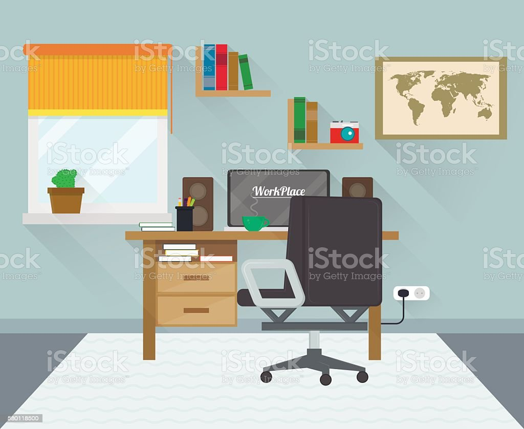 Modern workplace in room. Workspace creative theme. Flat minimalistic style. royalty-free stock vector art