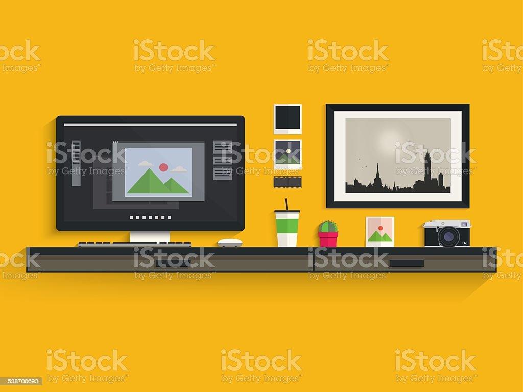 Modern workplace of photographer vector art illustration