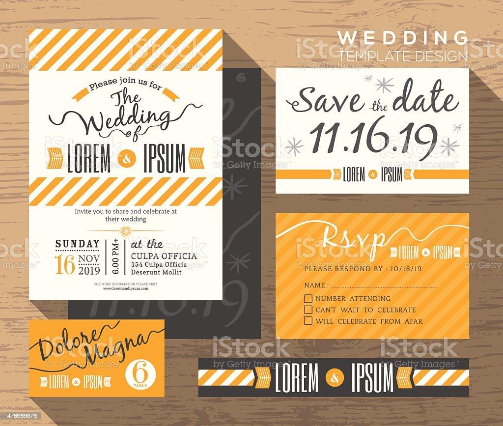 Modern yellow stripe wedding invitation set design Template vector art illustration