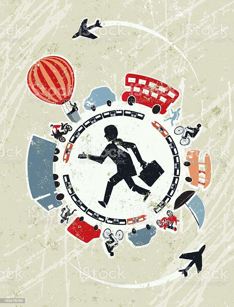 Modes of transport surrounding a Running Businessman vector art illustration
