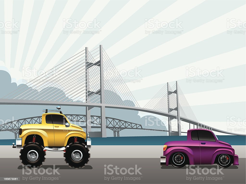 Modified Pick-up truck royalty-free stock vector art