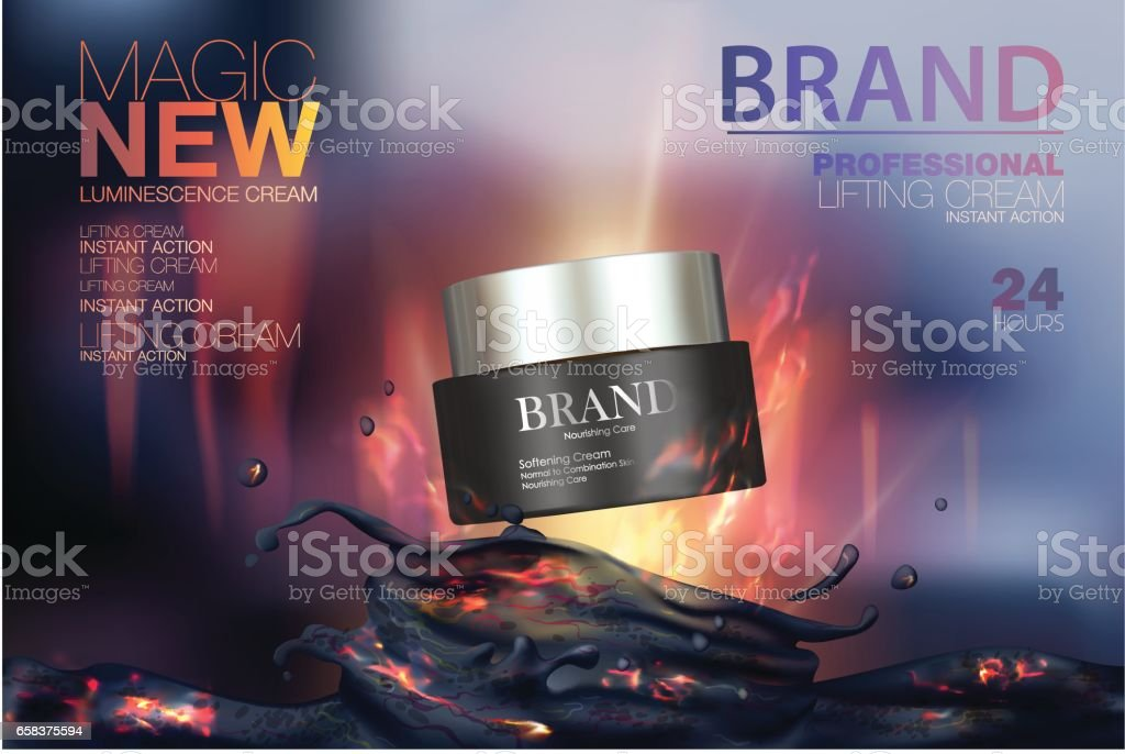 Moisturizing cosmetic products ads. Vector promo sample with clay mask in 3d design illustration. Background with a volcano and fire vector art illustration