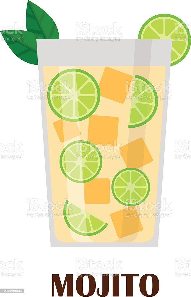 Mojito cocktail vector illustration. vector art illustration