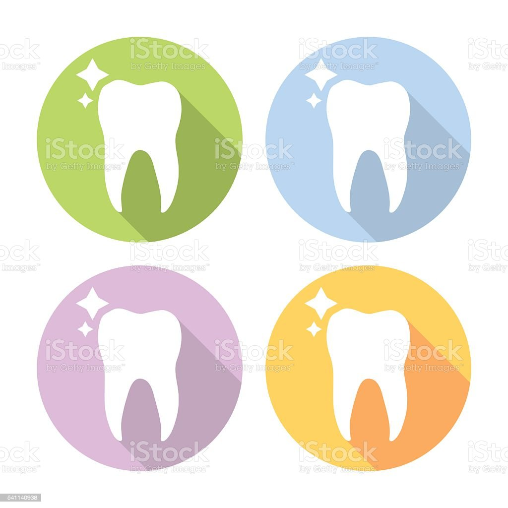Molar Tooth Dental Flat Icons Set vector art illustration
