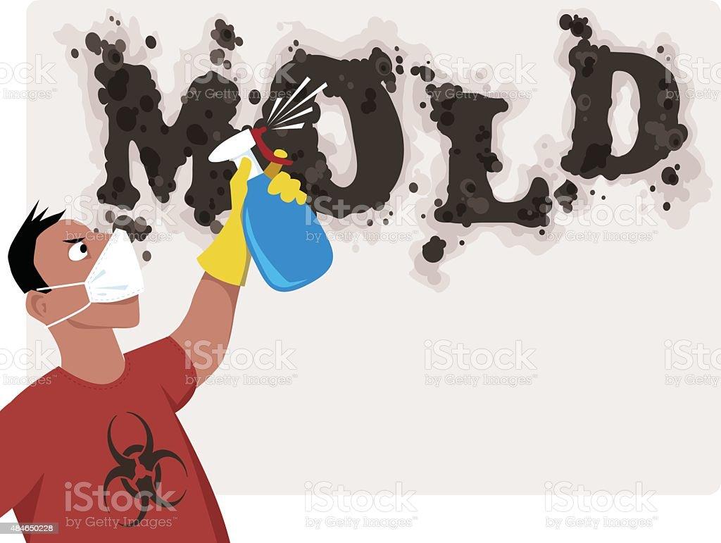 Mold removing vector art illustration