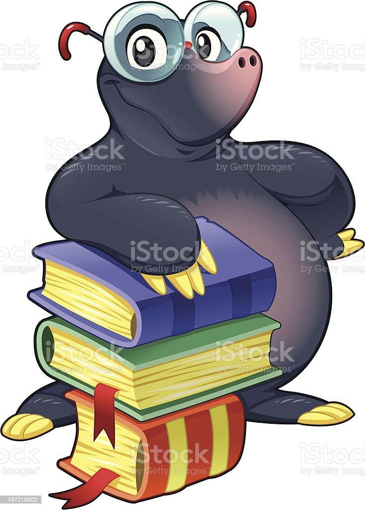 Mole with books. royalty-free stock vector art