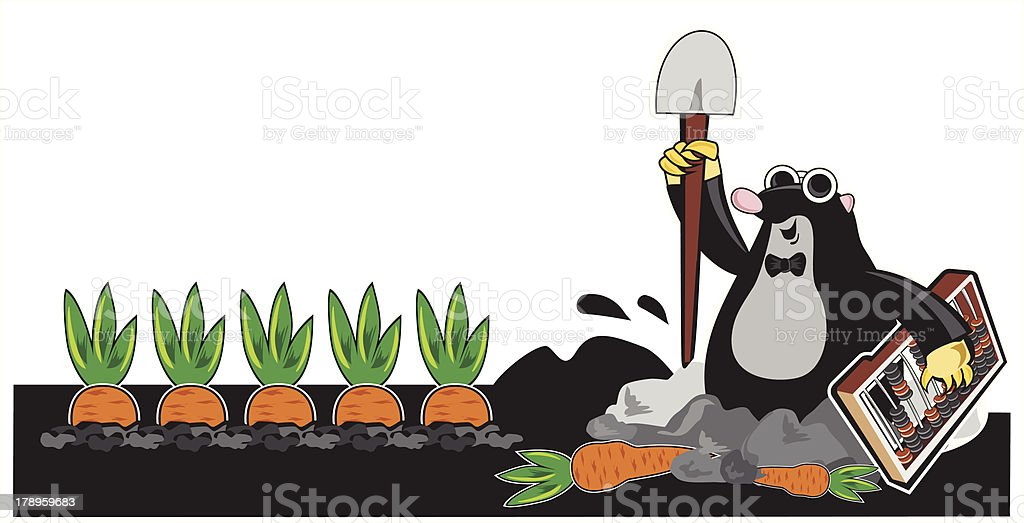 mole with shovel and calculating device vector art illustration