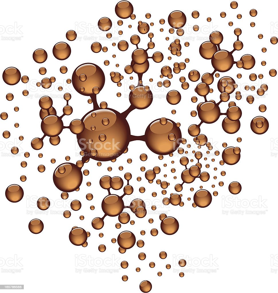 Molecular density models in brown royalty-free stock vector art