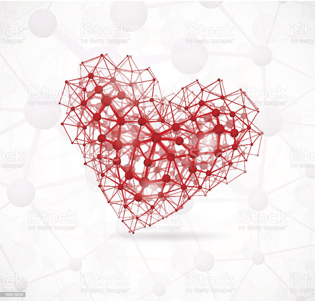Molecular heart royalty-free stock vector art