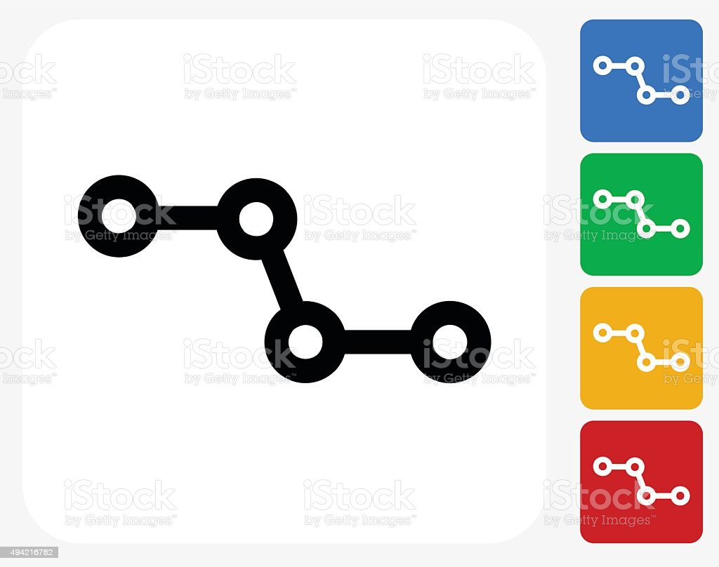 Molecular Structure Icon Flat Graphic Design vector art illustration