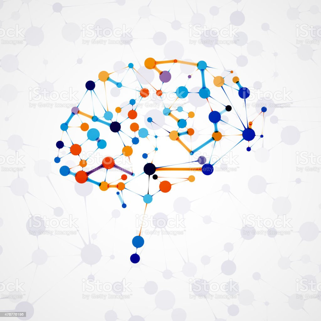 Molecular structure in the form of brain vector art illustration