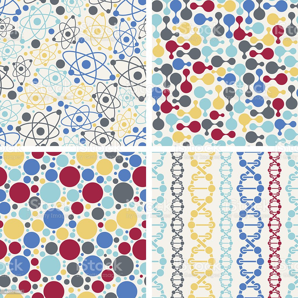 Molecular structure seamless patterns. royalty-free stock vector art