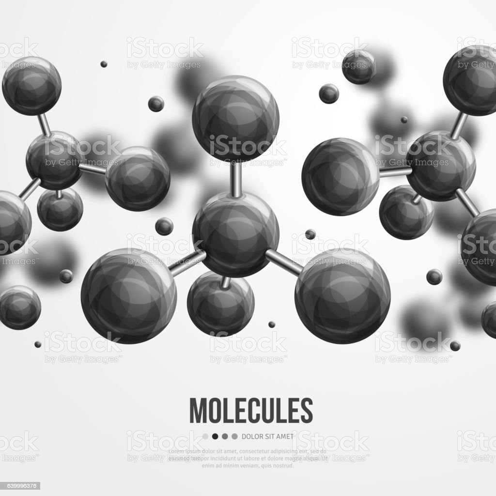 Molecular structure with black spherical particles vector art illustration
