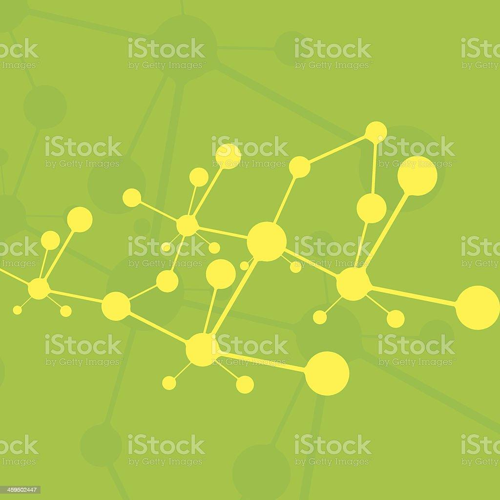 Molecule green background yellow molecules royalty-free stock vector art