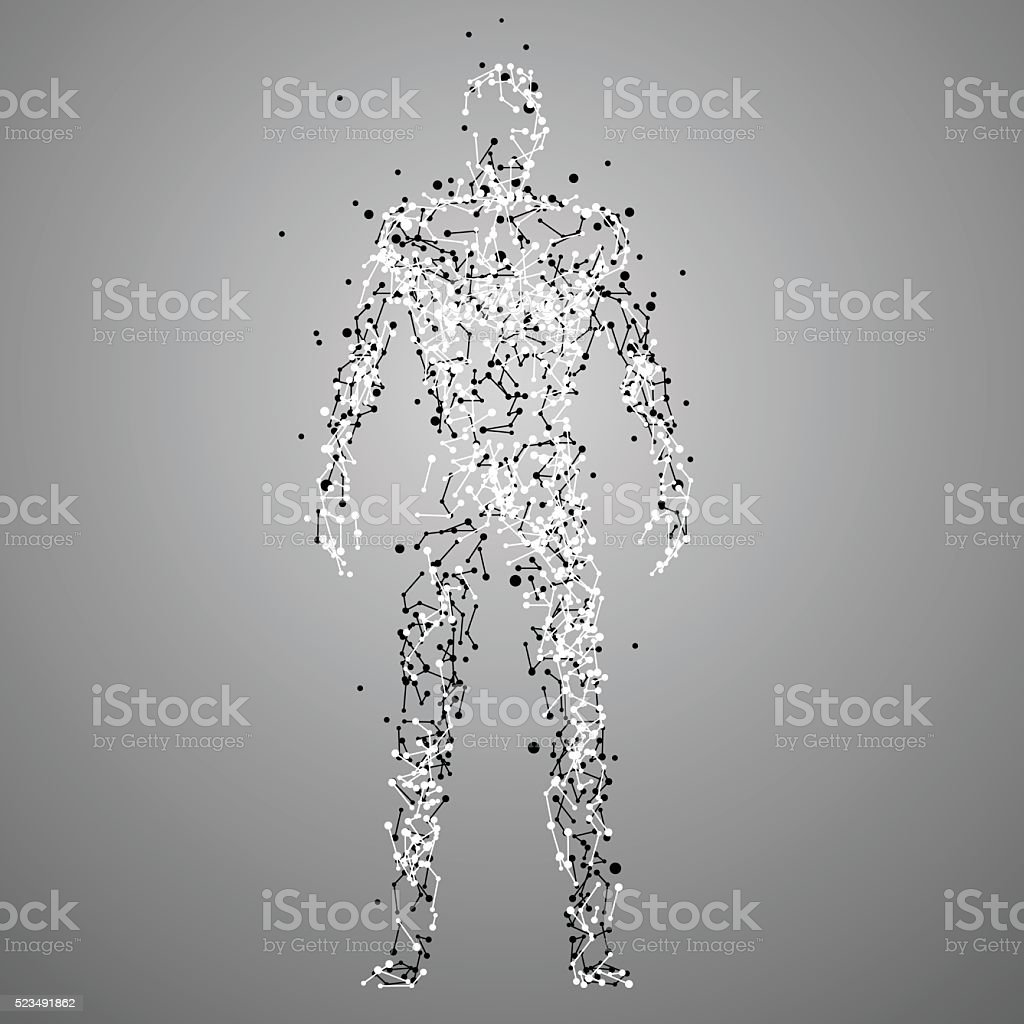 Molecule human silhouette vector art illustration