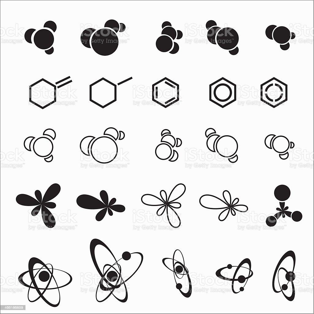 Molecule icons vector art illustration