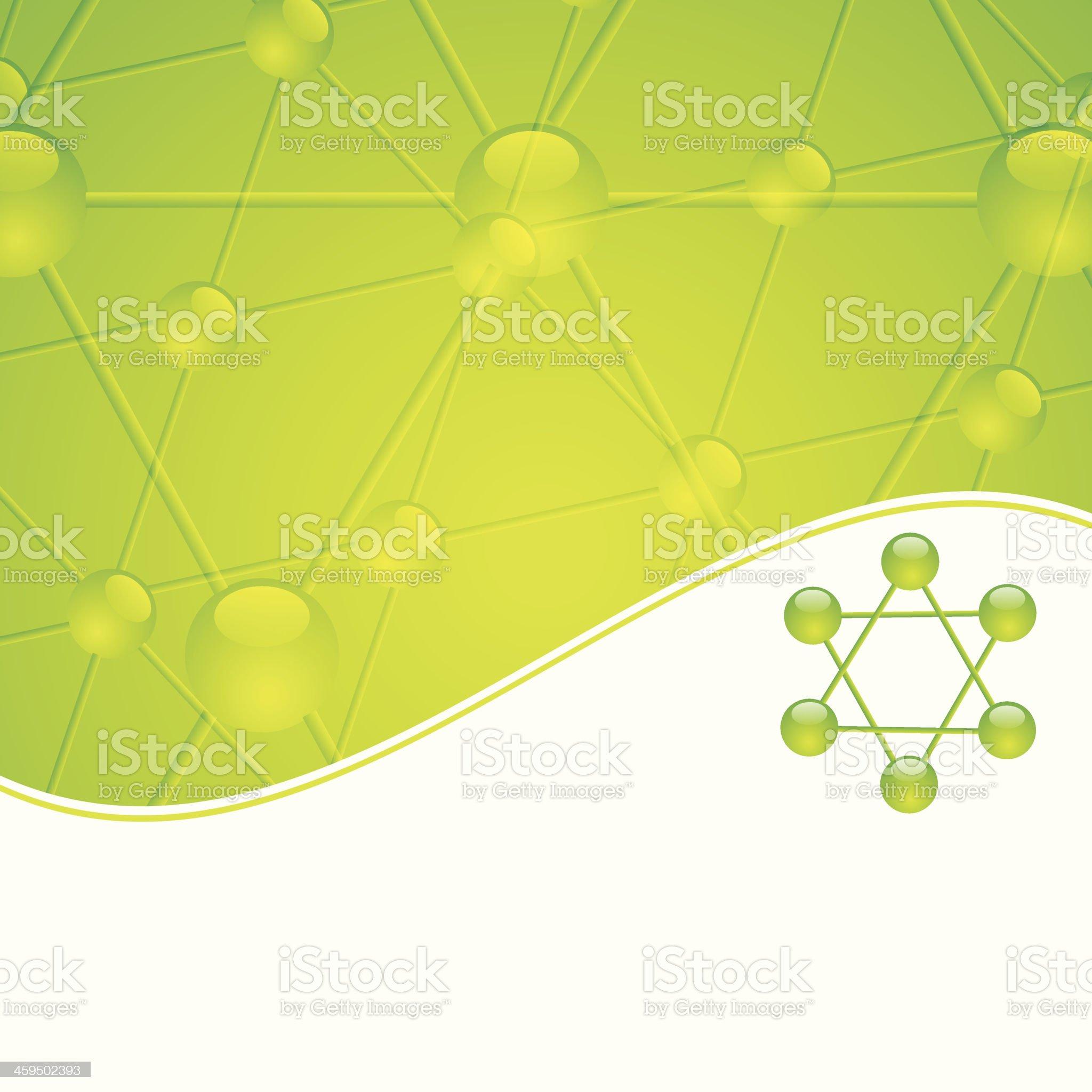 Molecule illustration green background royalty-free stock vector art