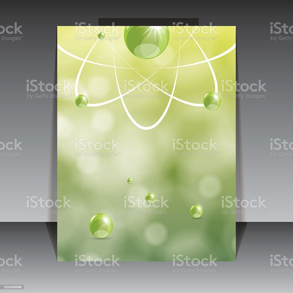 Molecule illustration green background vector art illustration