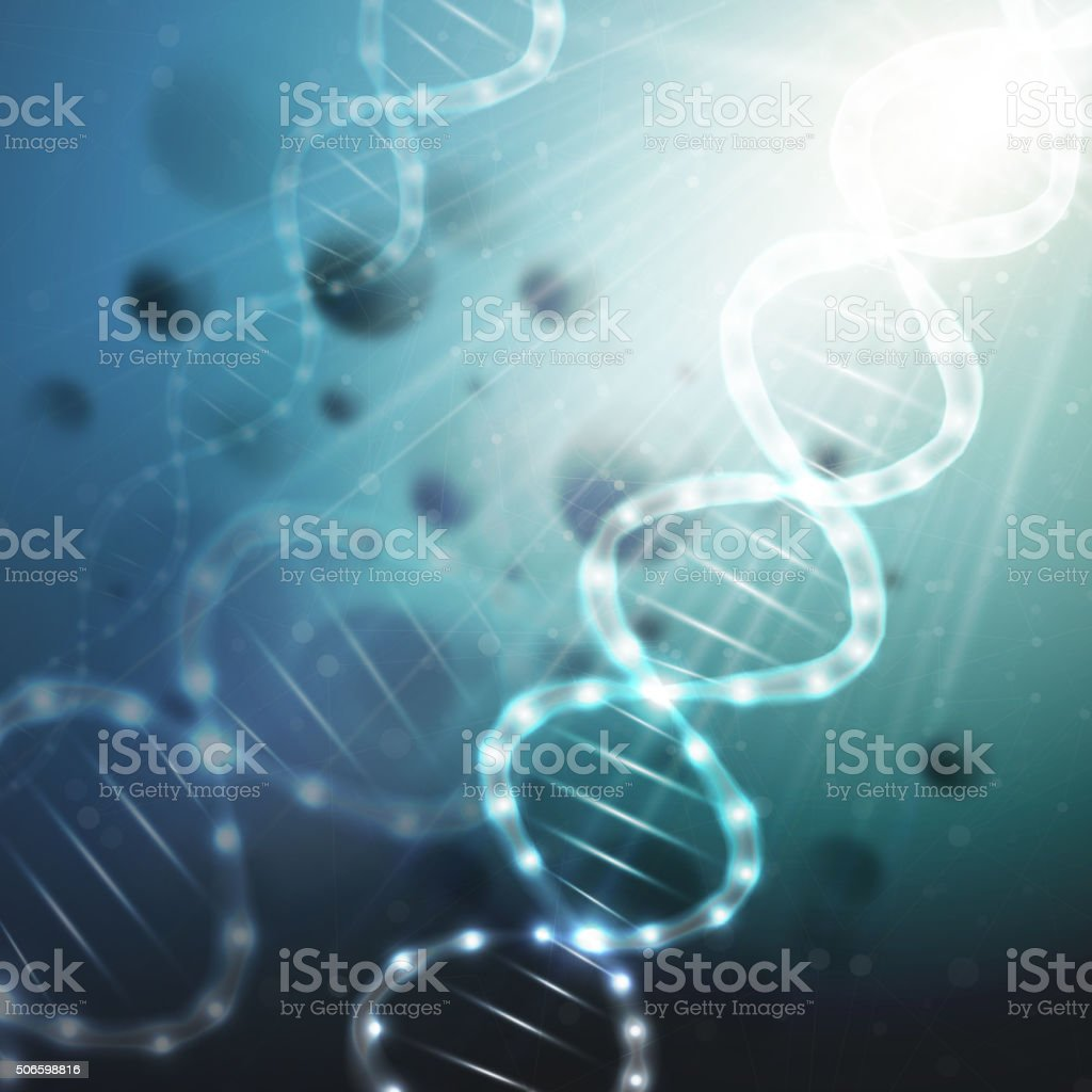 DNA molecule structure on a green background. Science vector background vector art illustration
