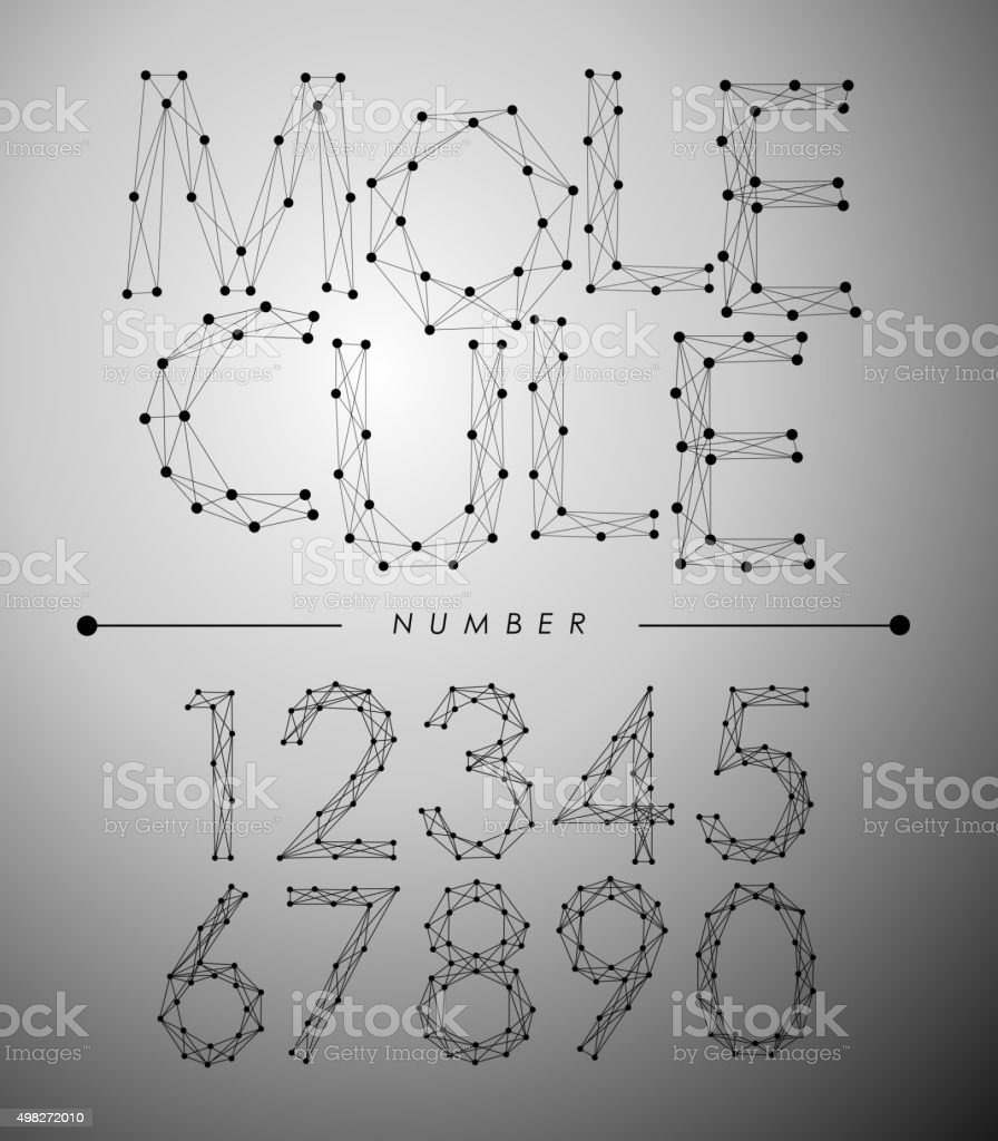 Molecule Trendy alphabet fonts Number. vector art illustration