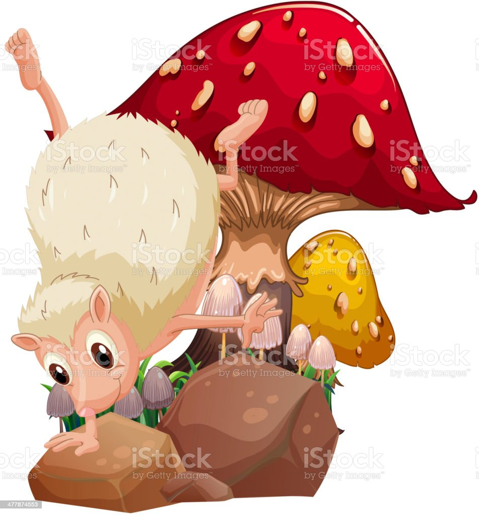 molehog playing near the giant red mushroom vector art illustration