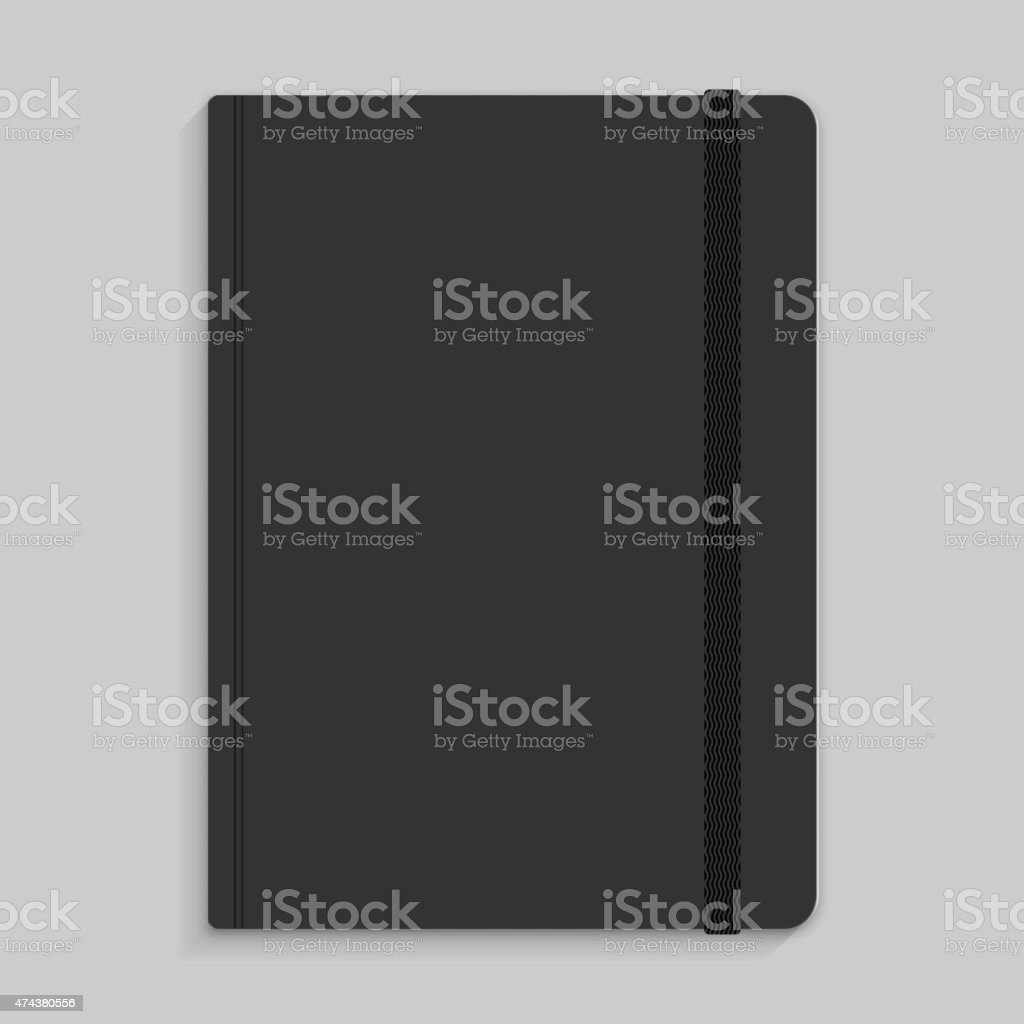 Moleskin notebook with black elastic band vector image vector art illustration