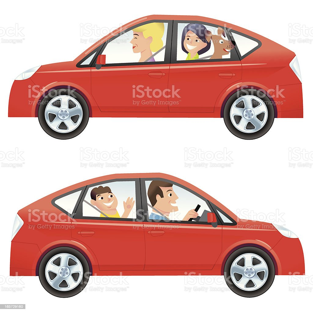 Mom and Dad driving vector art illustration
