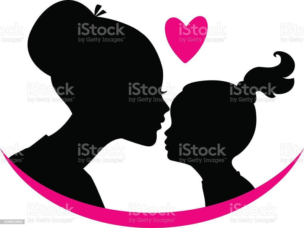 Mom and daughter love vector art illustration