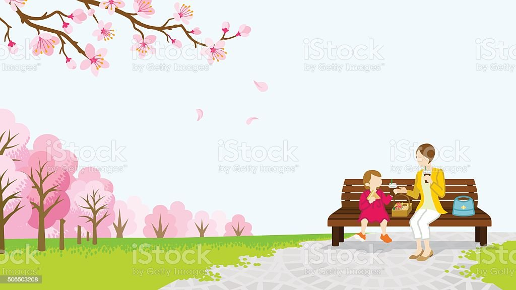 Mom and daughter picnic among the cherry trees -EPS10 vector art illustration