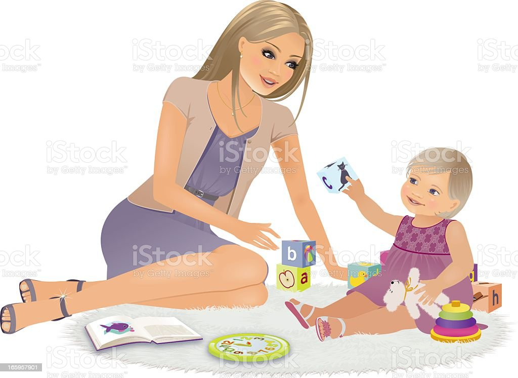 Mom and Little Girl Playing royalty-free stock vector art
