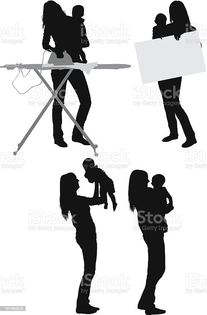 Mom carrying her baby royalty-free stock vector art
