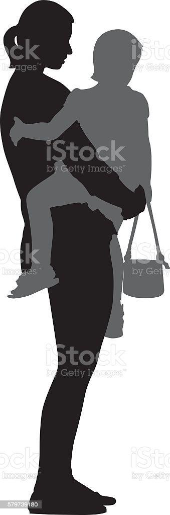 Mom Carrying Toddler vector art illustration