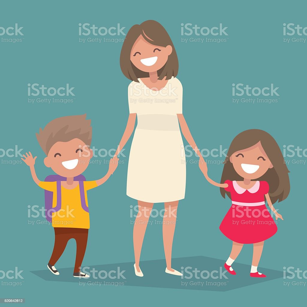 Mom goes with her son and daughter holding hands. vector art illustration