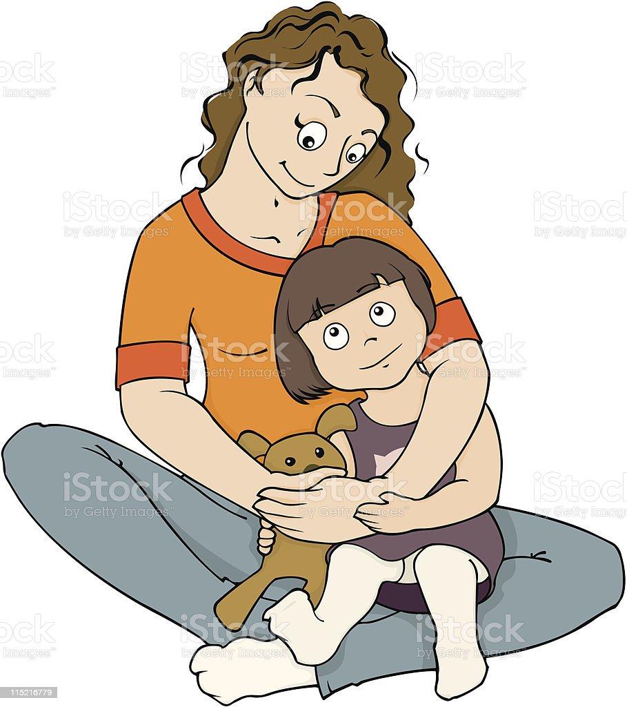Mom hugging daughter royalty-free stock vector art