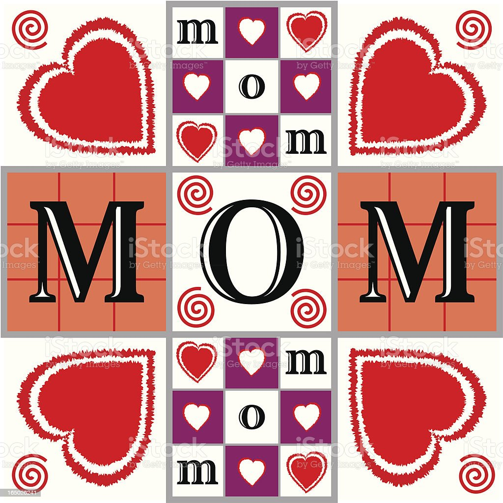 Mom Illustration with Hearts, Checkerboards, and Tic Tac Toe Patterns royalty-free stock vector art