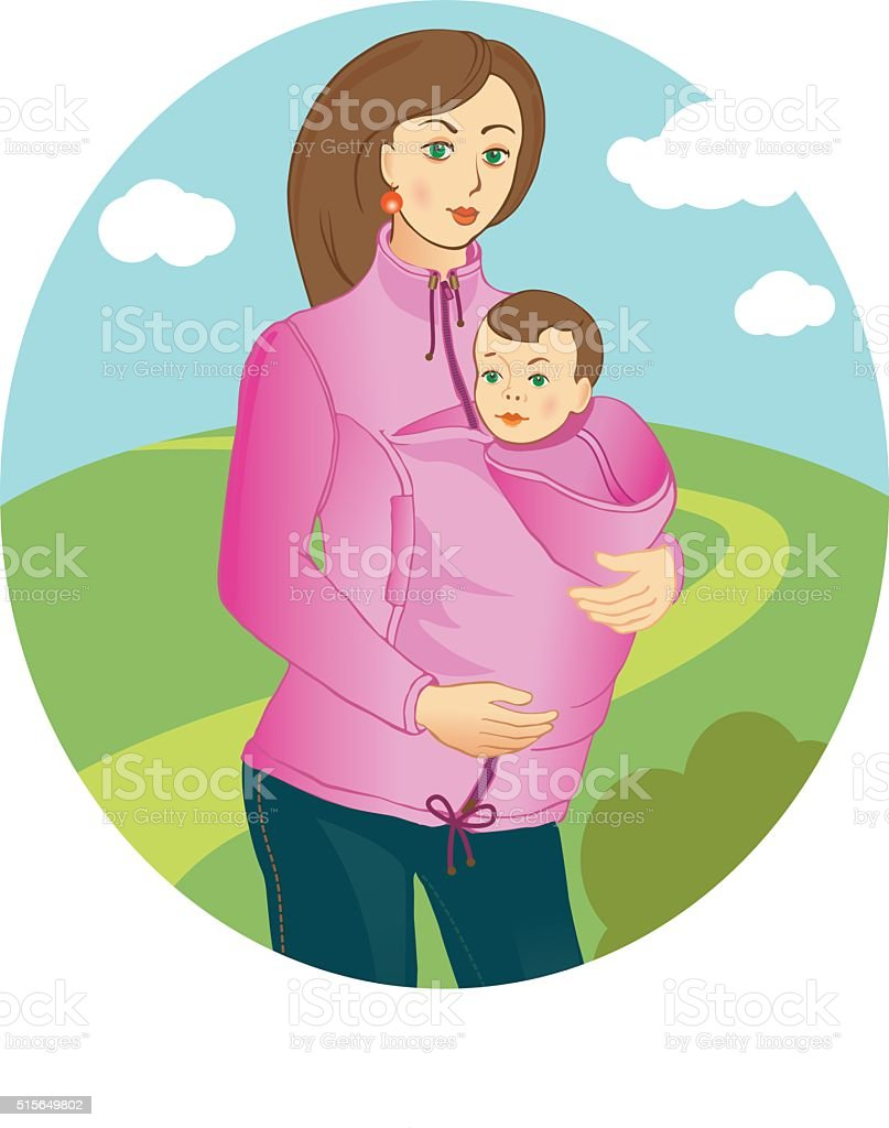 Mom in a carrying jacket walking vector art illustration