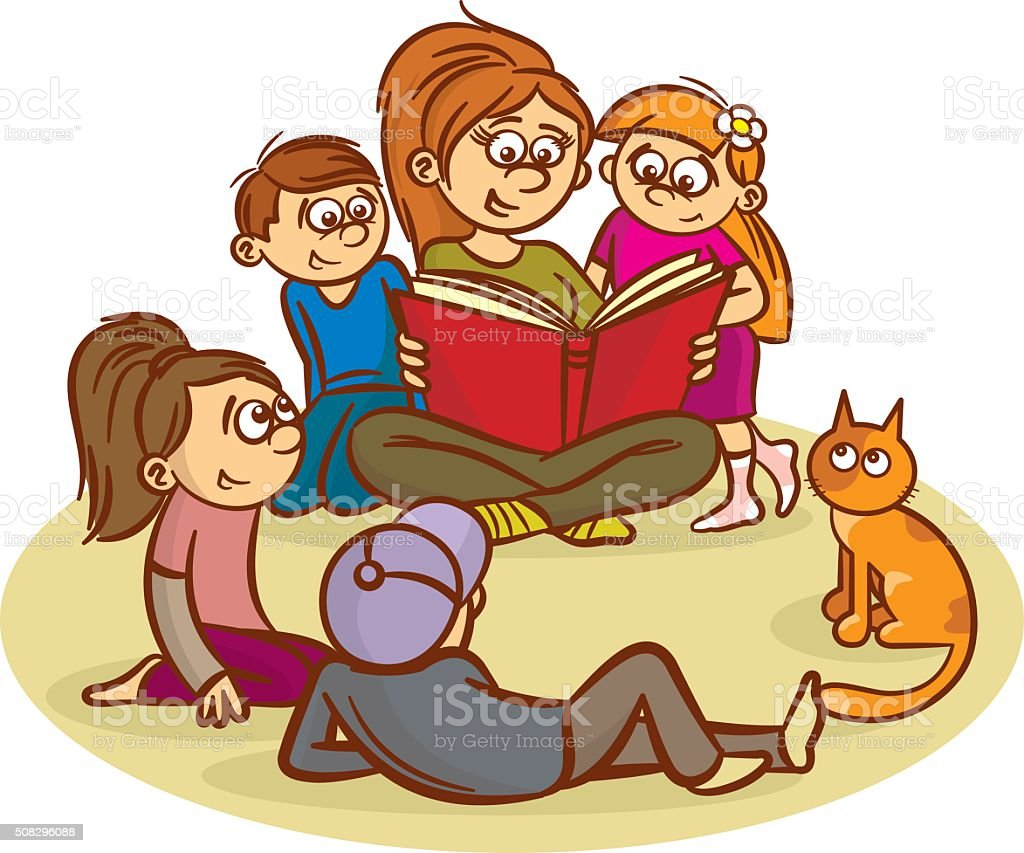 Mom reading a book for children vector art illustration