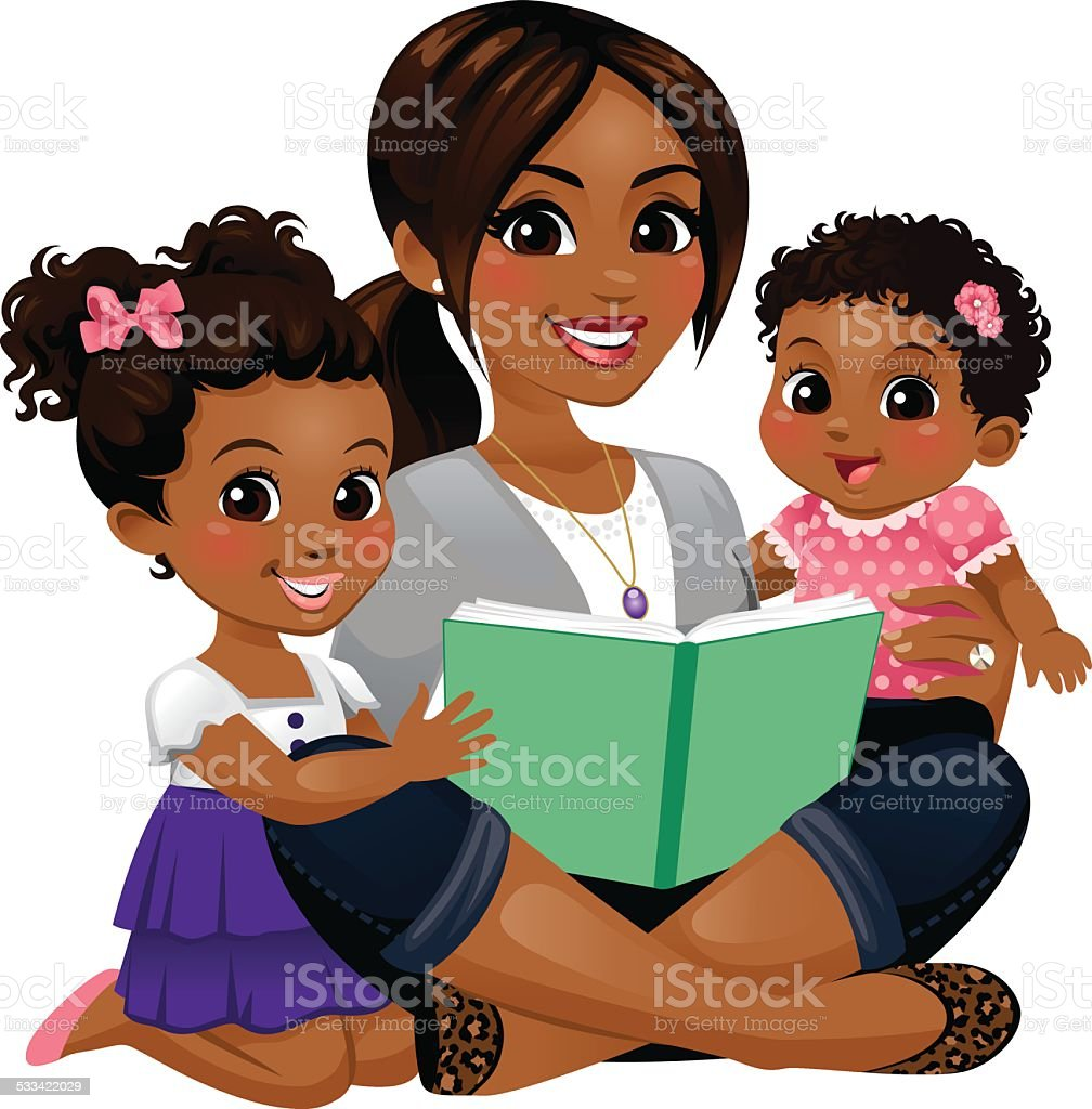 Mom Reading with Daughters vector art illustration